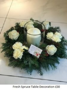 Fresh Spruce Table Decoration| Florists Widnes | Flowers by Carol