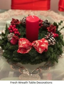 Fresh Wreath Table Decorations| Florists Widnes | Flowers by Carol