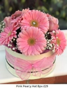 Pink Pearly Hat Box| Florists Widnes | Flowers by Carol